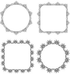 Drawings decorative vintage round and square vector