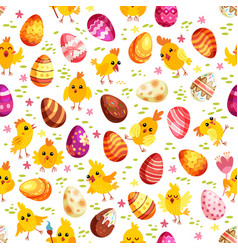 easter eggs and chickens seamless pattern holiday vector image