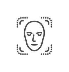 Face detection line icon head recognition sign vector