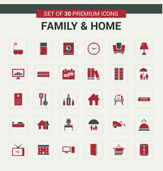 Family and home icons red vector