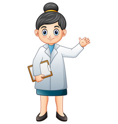 female doctor holding clipboard vector image