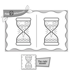 Find 9 differences game black hourglass vector