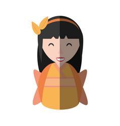 girl geisha kimono diadem shadow vector image