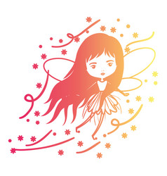 girly fairy flying with wings and long hair and vector image