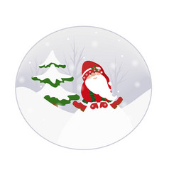 Gnome elf cartoon character in winter forest snowy vector