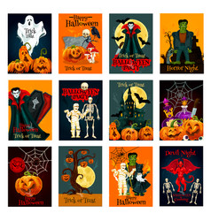 Halloween holiday trick or treat greeting card vector