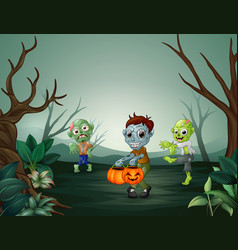 happy zombie celebrating halloween in forest vector image