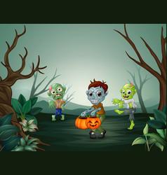 Happy zombie celebrating halloween in forest vector
