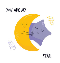 Hugging cute moon and star characters sweet image vector