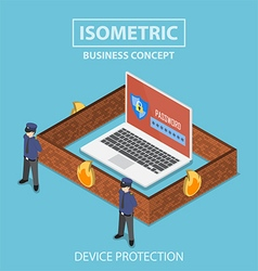 Isometric laptop computer protected by security vector image