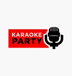 karaoke party and mic sign vector image