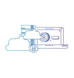 laptop with bitcoin commerce technology icon vector image