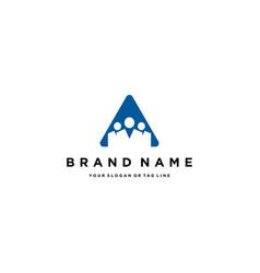 Letter a people team logo design vector