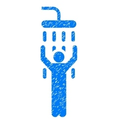 Man Under Shower Grainy Texture Icon vector image