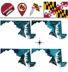 Map maryland with regions vector