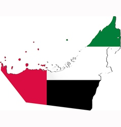 map united arab emirates with national flag vector image