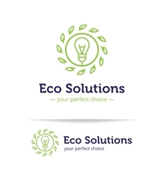 minimalistic line style eco solutions logo vector image