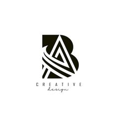 Monogram ba b a letters logo design with black vector