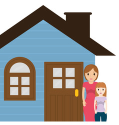 mother and daughter house family vector image