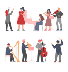 musician characters playing musical instruments vector image