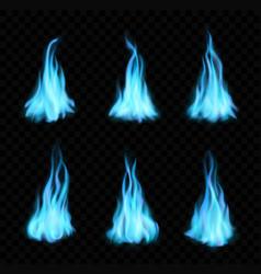Natural gas burning blue flames bonfire set vector