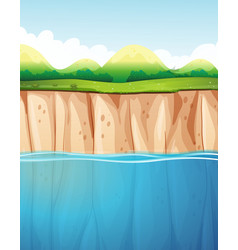 Nature scene with cliff and ocean vector