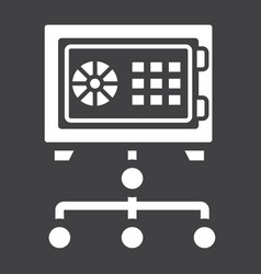 Network safe vault solid icon strongbox vector