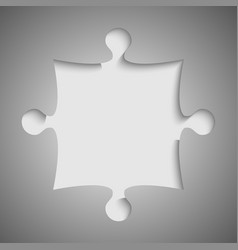 one grey piece flat puzzle jigsaw vector image