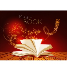 Opened book with magic light vector image