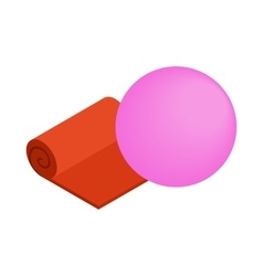 Orange yoga mat and pink fitness ball icon vector