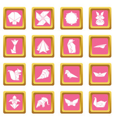 Origami icons set pink square vector