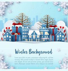 paper art winter background postcard banner of vector image