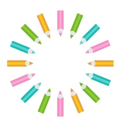 pencil round frame isolated template vector image