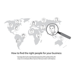 People search all around the world concept vector image
