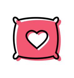 Pillow with heart shape logo template love pillow vector