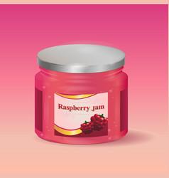 raspberry jam in jar vector image