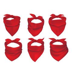Red bandanas face mask or neck scarfs set vector