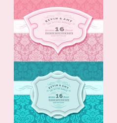 Retro wedding card set vector
