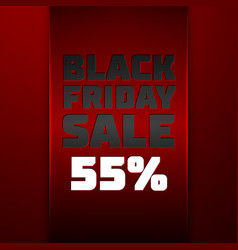 Ribbon with black friday sale fifty five percent vector