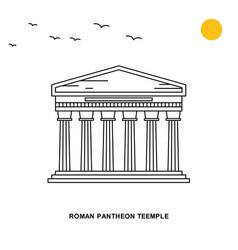 Roman pantheon teemple monument world travel vector