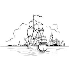 Sailing boat and town vector image