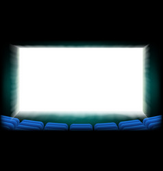 Screen movie cinema cinema hall with blue vector