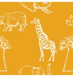 Seamless background with African animals vector