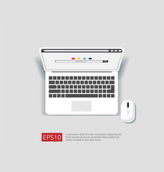 search browser bar on top view laptop screen flat vector image