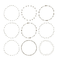 Set of 9 circle cute hand drawn frames vector image