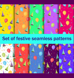 Set of seamless patterns with balloons and caps vector