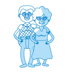 silhouette old couple with hairstyle and glasses vector image