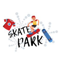 skate park practicing skills and rest for teens vector image
