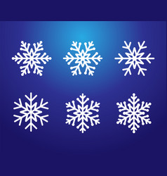 snowflake set white color on blue vector image