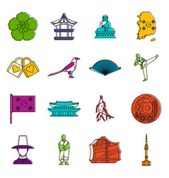 South korea icons doodle set vector
